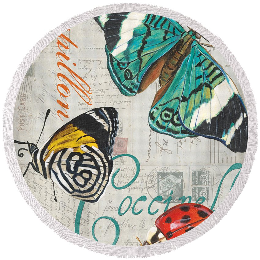 Butterfly Round Beach Towel featuring the painting Grey Postcard Butterflies 2 by Debbie DeWitt