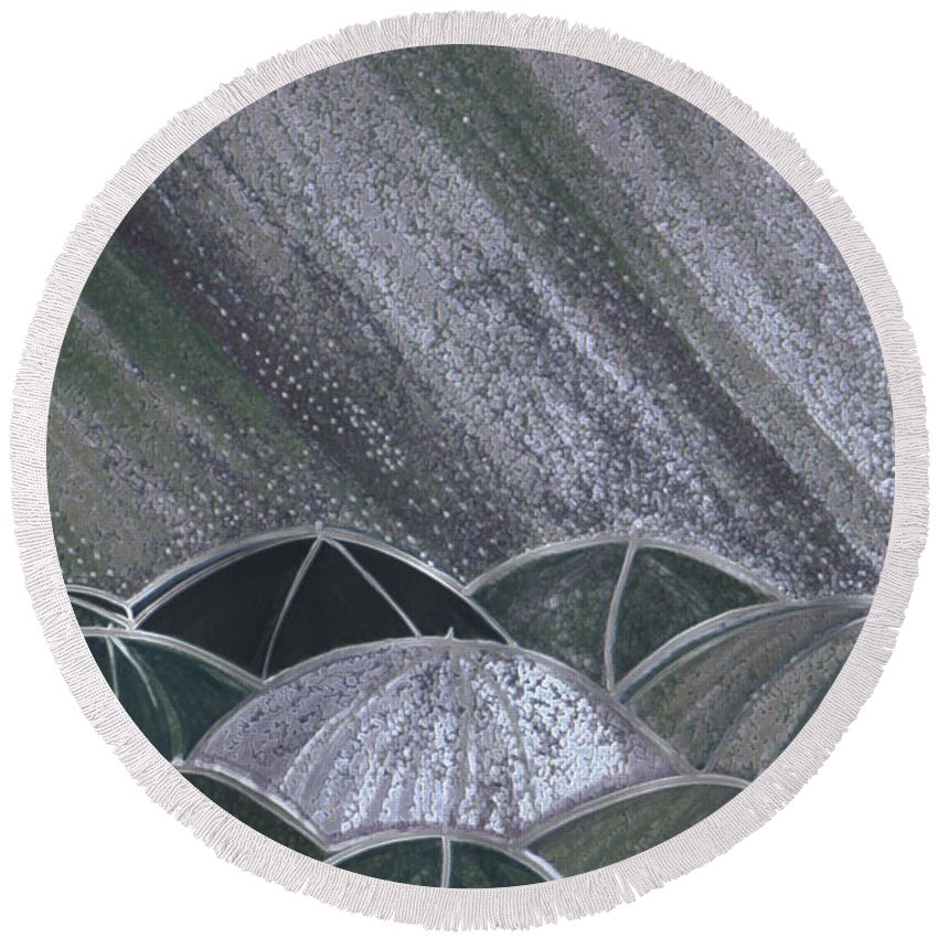 First Star Art Round Beach Towel featuring the painting Grey Rain 2 By Jrr by First Star Art