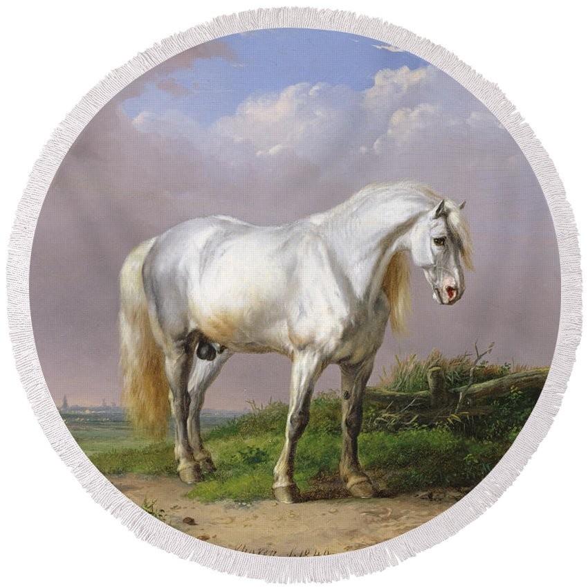Horse Round Beach Towel featuring the painting Grey Stallion by Eugene Joseph Verboeckhoven