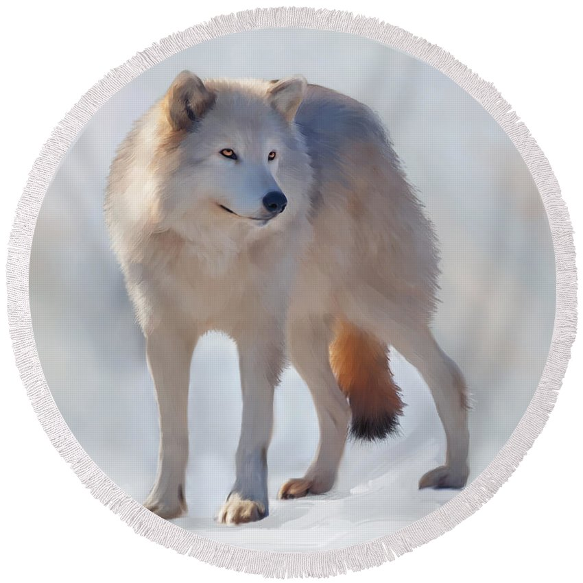 Wolf Round Beach Towel featuring the painting Grey Wolf by Johanne Dauphinais