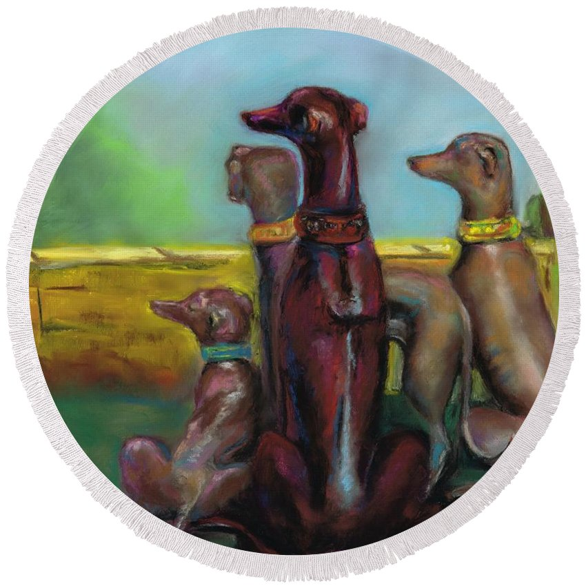 Greyhound Round Beach Towel featuring the painting Greyhound Figurines by Frances Marino