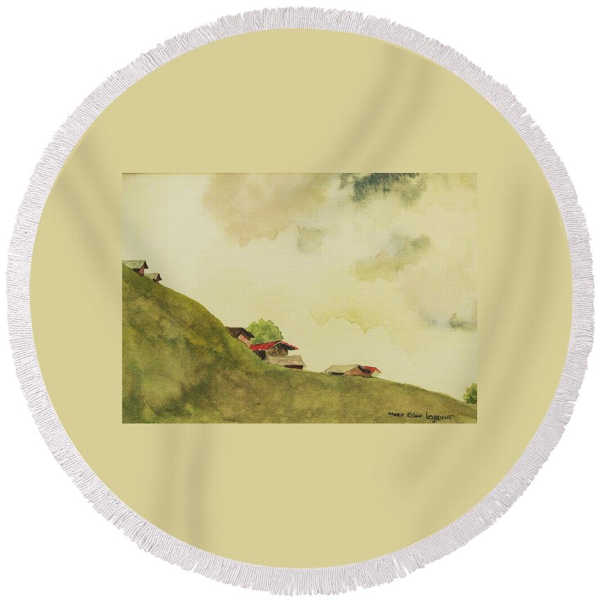 Swiss Round Beach Towel featuring the painting Grindelwald Dobie Inspired by Mary Ellen Mueller Legault