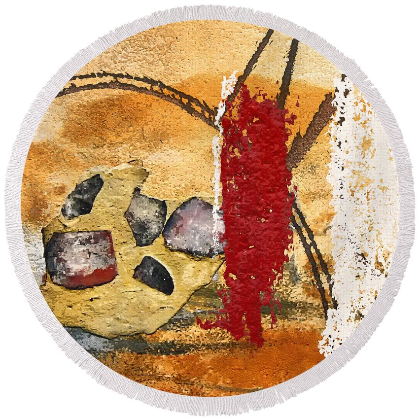 Gris-gris Round Beach Towel featuring the mixed media Gris-gris On Your Doorstep by Dominic Piperata