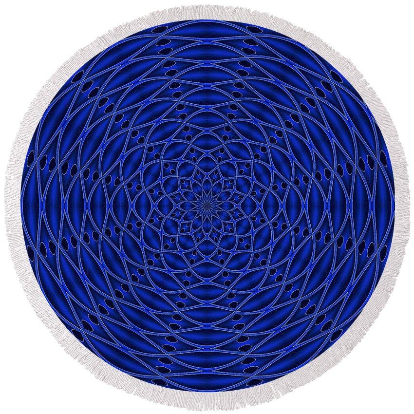 Mandala Round Beach Towel featuring the digital art Mandala Blue Marvel by Doug Morgan