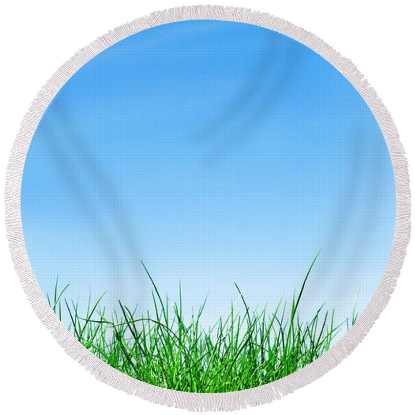 Agriculture Round Beach Towel featuring the photograph Ground Grass And Sky by Michal Bednarek