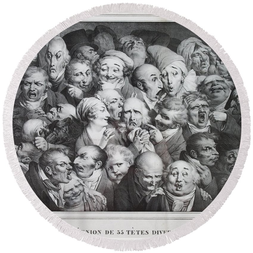 Louis Leopold Boilly Round Beach Towel featuring the drawing Group Of Thirty-five Heads by Louis Leopold Boilly