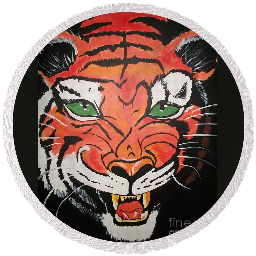 Tiger Round Beach Towel featuring the painting Growling Tiger by Sherry Cordle