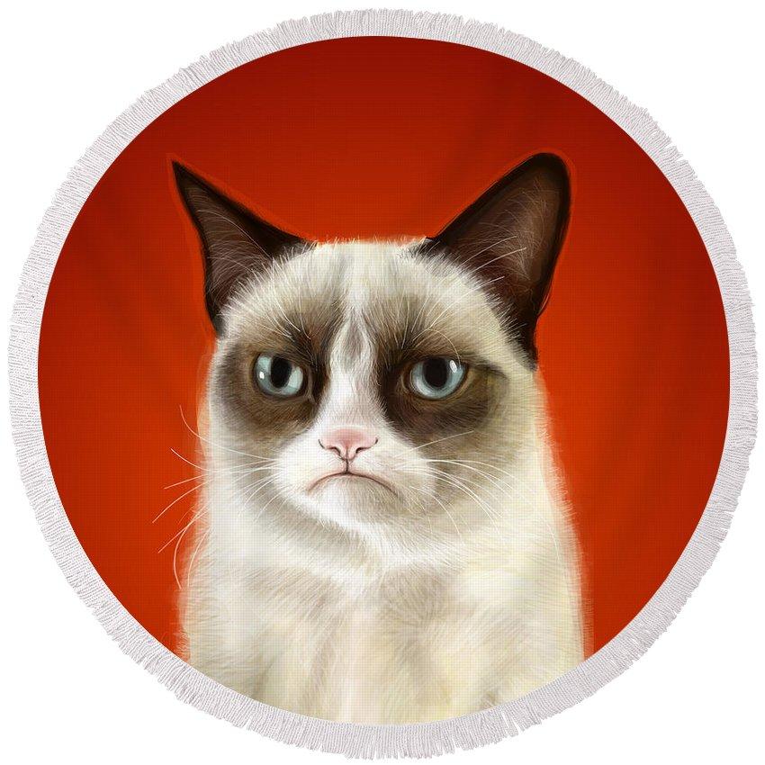 Grumpy Round Beach Towel featuring the digital art Grumpy Cat by Olga Shvartsur