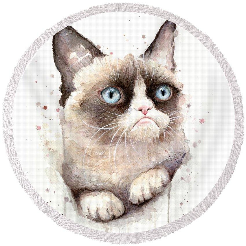 Grumpy Round Beach Towel featuring the painting Grumpy Cat Watercolor by Olga Shvartsur