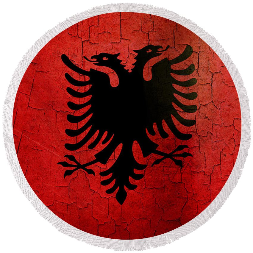 Aged Round Beach Towel featuring the digital art Grunge Albania Flag by Steve Ball