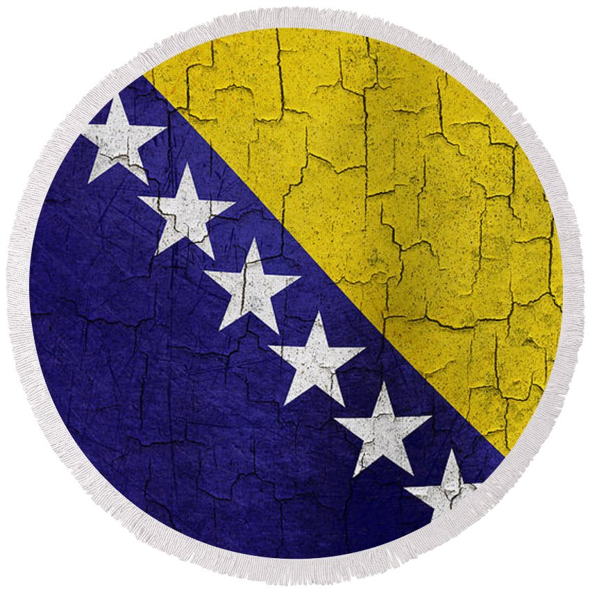 Aged Round Beach Towel featuring the digital art Grunge Bosnia And Hertzegoniva Flag by Steve Ball