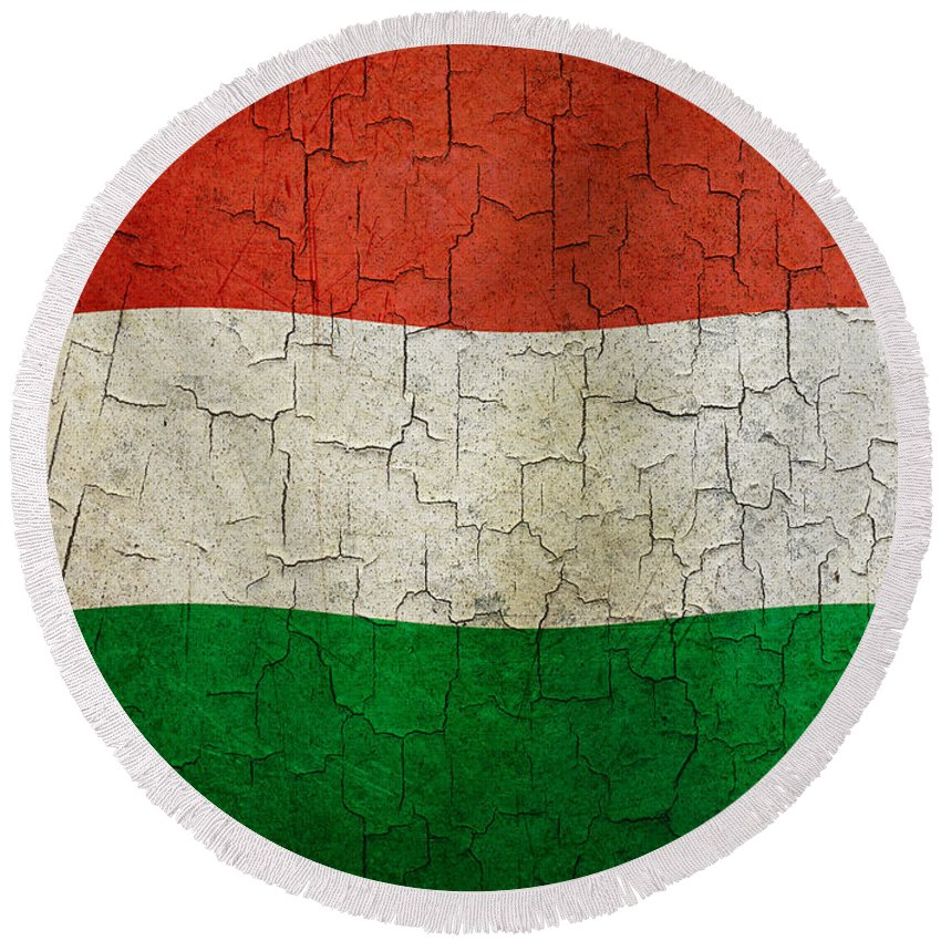 Aged Round Beach Towel featuring the digital art Grunge Hungary Flag by Steve Ball