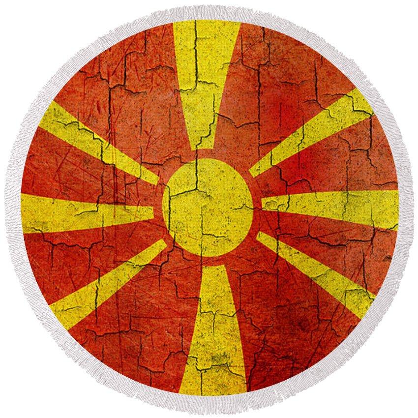 Aged Round Beach Towel featuring the digital art Grunge Macedonia Flag by Steve Ball