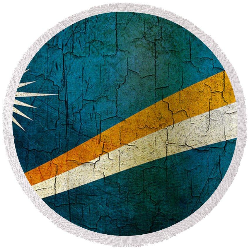 Aged Round Beach Towel featuring the digital art Grunge Marshall Islands Flag by Steve Ball
