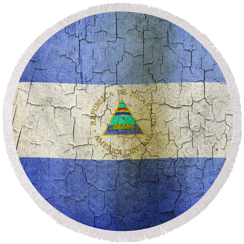Aged Round Beach Towel featuring the digital art Grunge Nicaragua Flag by Steve Ball