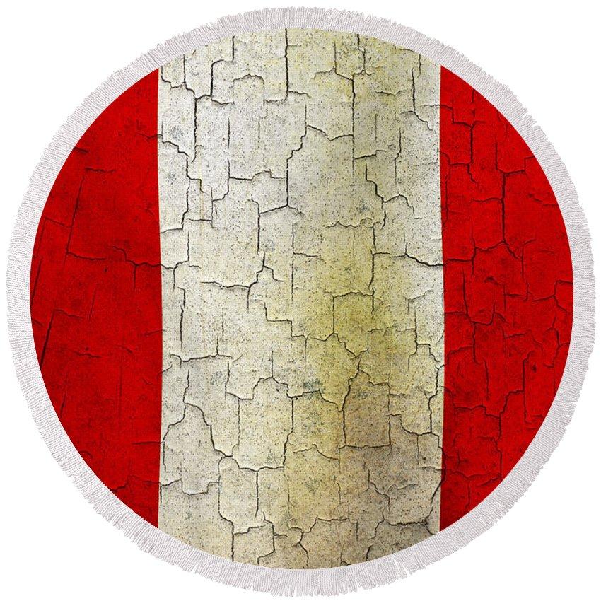 Aged Round Beach Towel featuring the digital art Grunge Peru Flag by Steve Ball