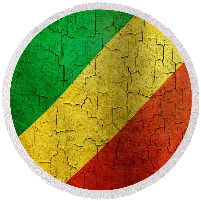 Aged Round Beach Towel featuring the digital art Grunge Republic Of The Congo Flag by Steve Ball