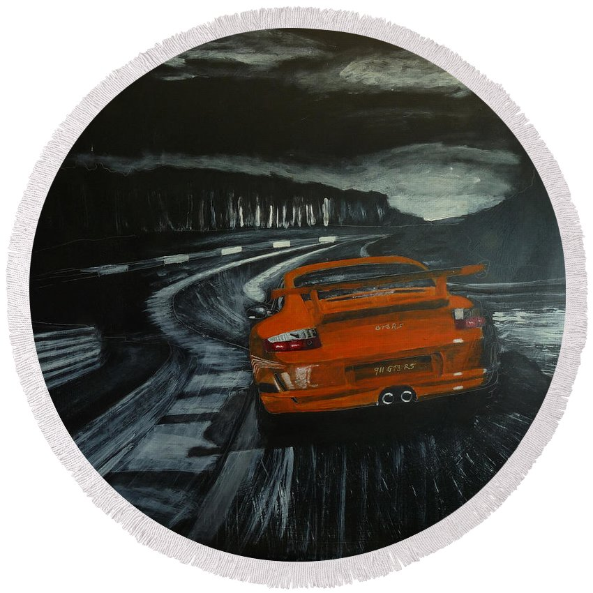 Porsche Round Beach Towel featuring the painting Gt3 @ Le Mans #2 by Richard Le Page