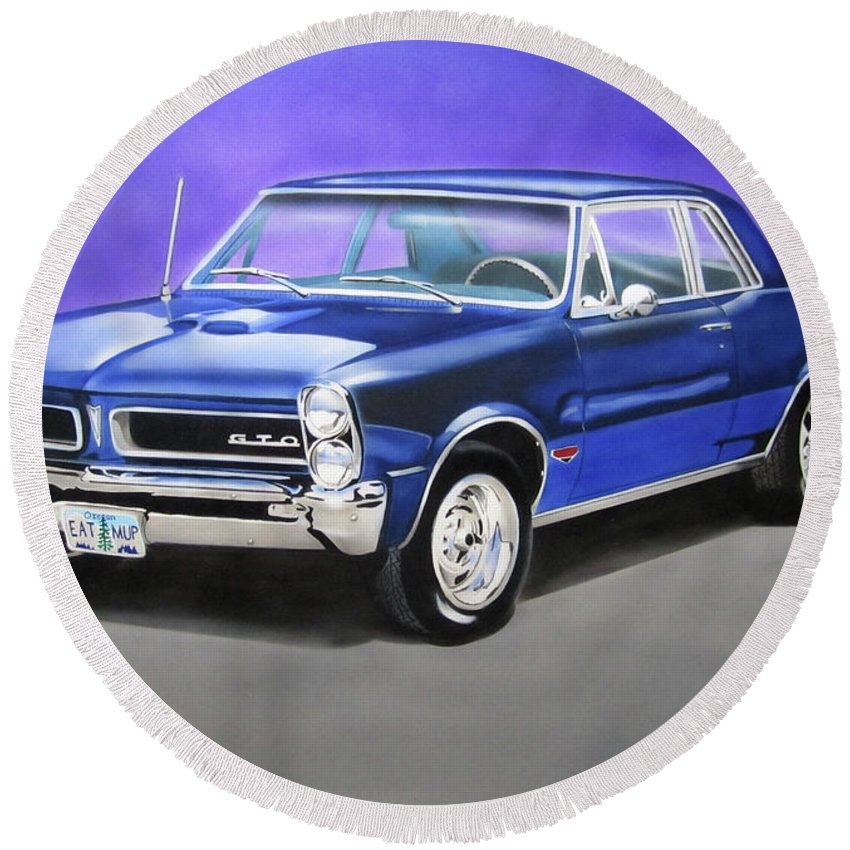 Gto Round Beach Towel featuring the painting Gto 1965 by Thomas J Herring