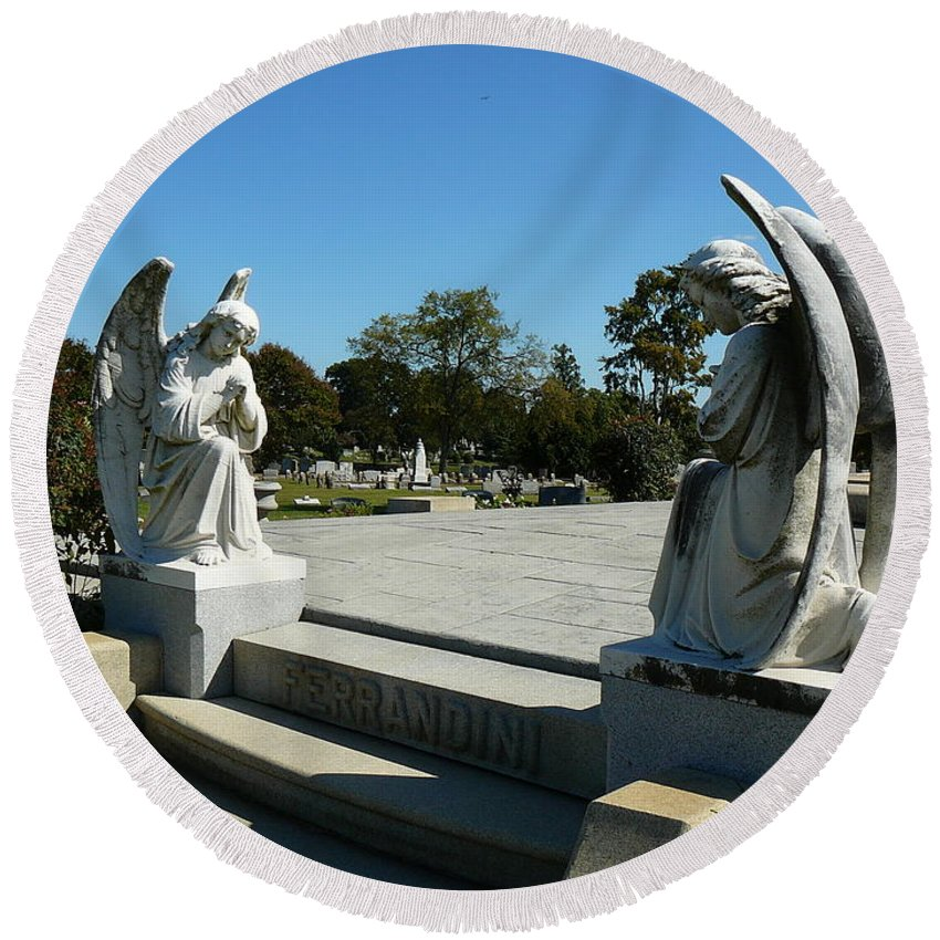 Virginia Round Beach Towel featuring the photograph Guardian Angels by Two Bridges North