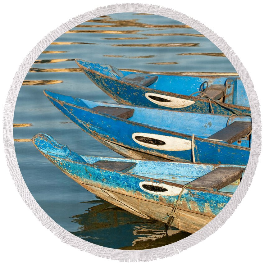Vietnam Round Beach Towel featuring the photograph Guardian Eyes by Rick Piper Photography
