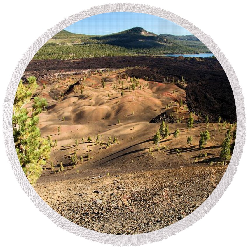 Lassen Volcanic Round Beach Towel featuring the photograph Guardian Of The Dunes by Adam Jewell