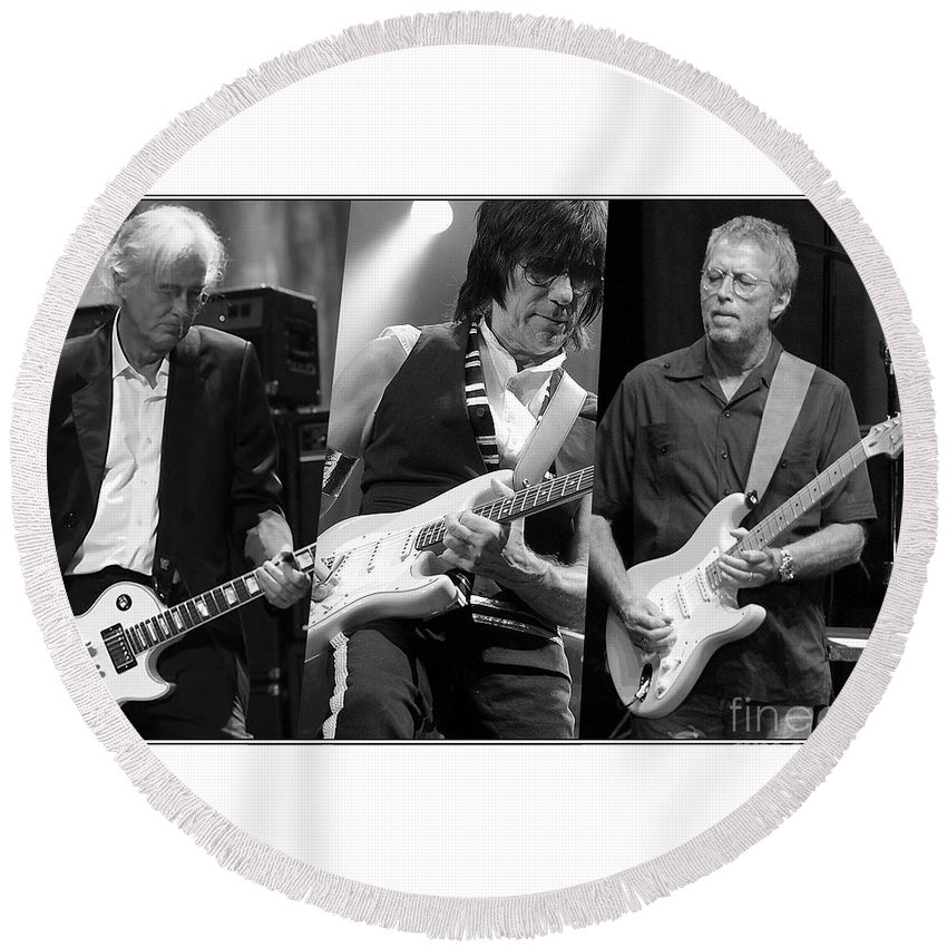 Jeff Beck Art Round Beach Towel featuring the mixed media Guitar Legends Jimmy Page Jeff Beck And Eric Clapton by Marvin Blaine