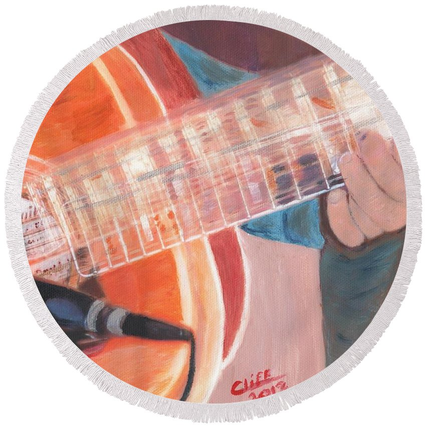 Music Round Beach Towel featuring the painting Guitar Music by Cliff Wilson