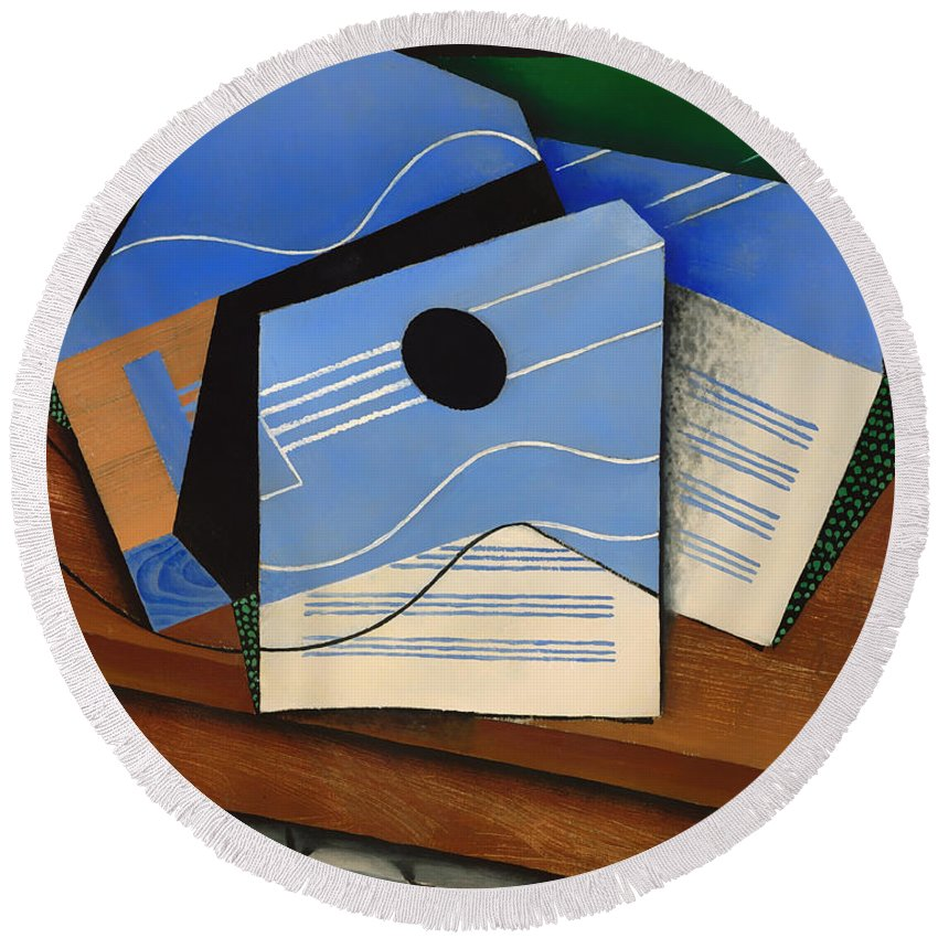 Painting Round Beach Towel featuring the painting Guitar On A Table by Mountain Dreams
