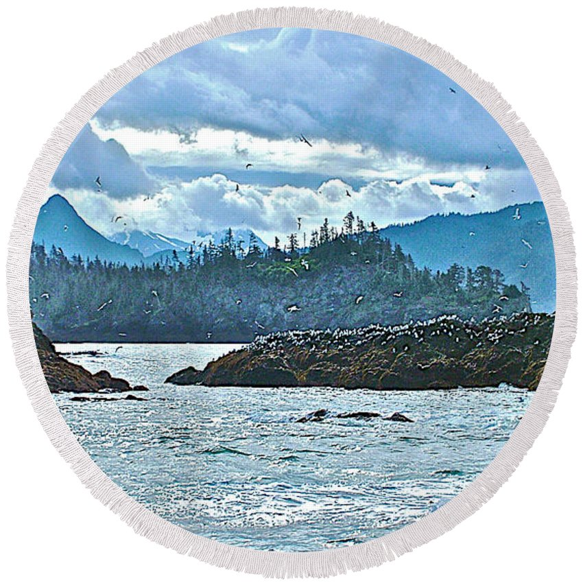 Gull Island Rookeries In Kachemak Bay Round Beach Towel featuring the photograph Gull Island Rookeries In Kachemak Bay-alaska by Ruth Hager