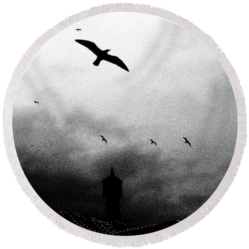 Photographic Print Round Beach Towel featuring the photograph Gulls Over Towers by Callan Art