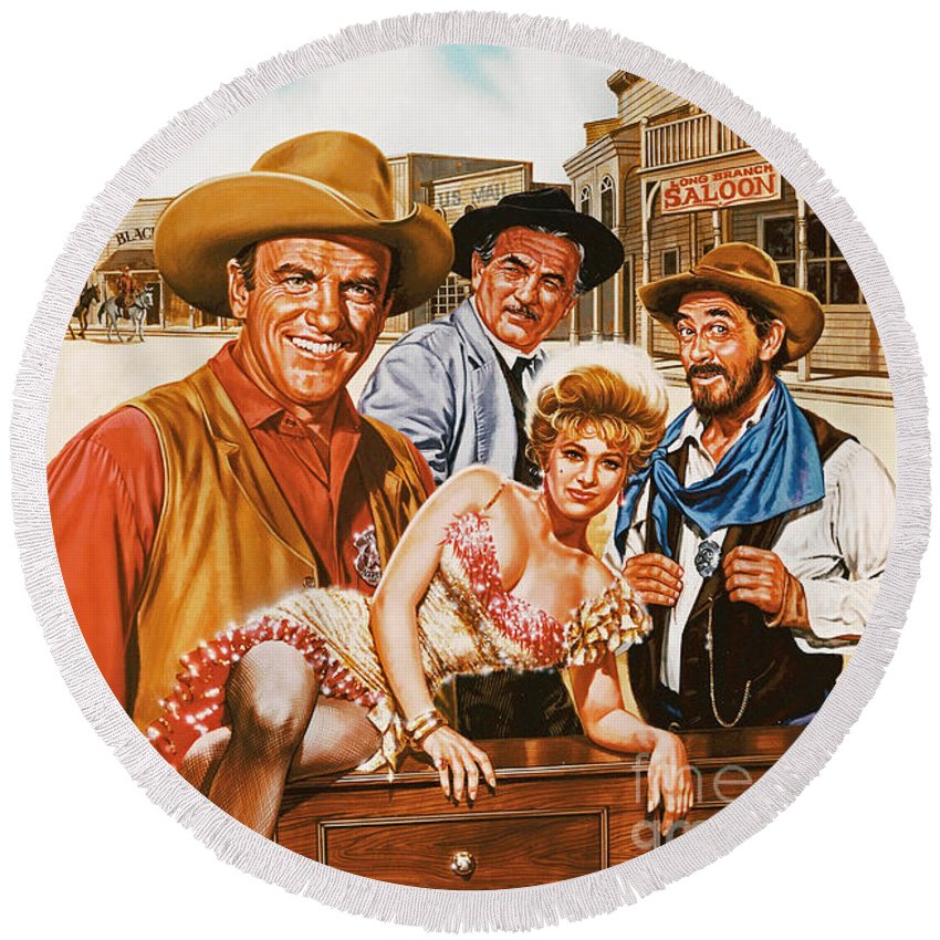 Portrait Round Beach Towel featuring the painting Gunsmoke by Dick Bobnick