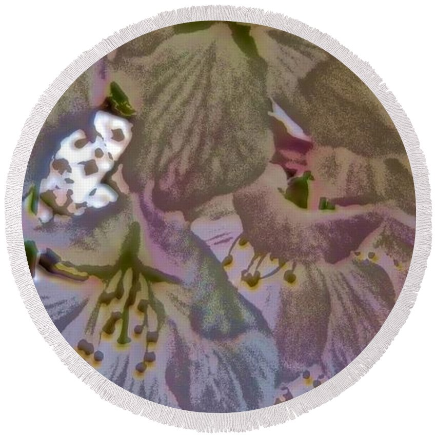 Cherry Tree Round Beach Towel featuring the photograph H Cherry Blossom Cont L by Dale Crum