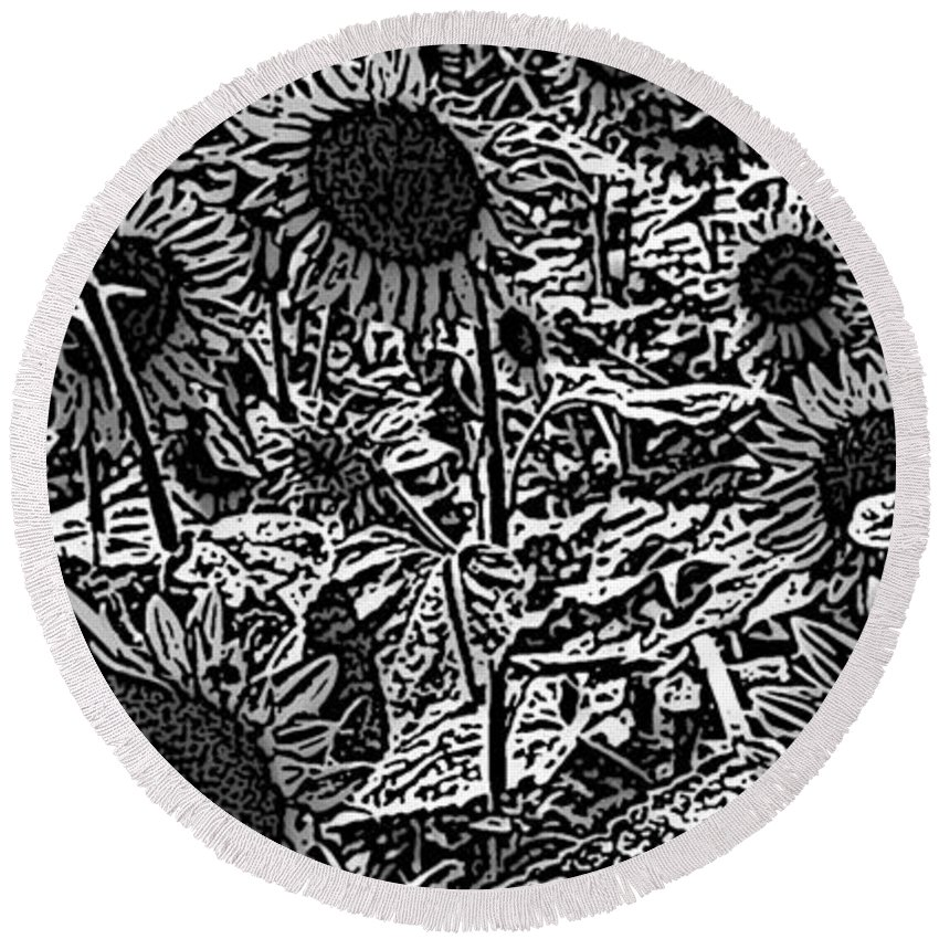 Black And White Round Beach Towel featuring the photograph H2 Sunflowers Map Bw by Dale Crum