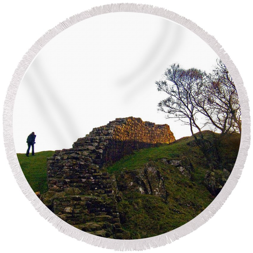 World Heritage Site Round Beach Towel featuring the photograph Hadrians Wall by Tim Holt