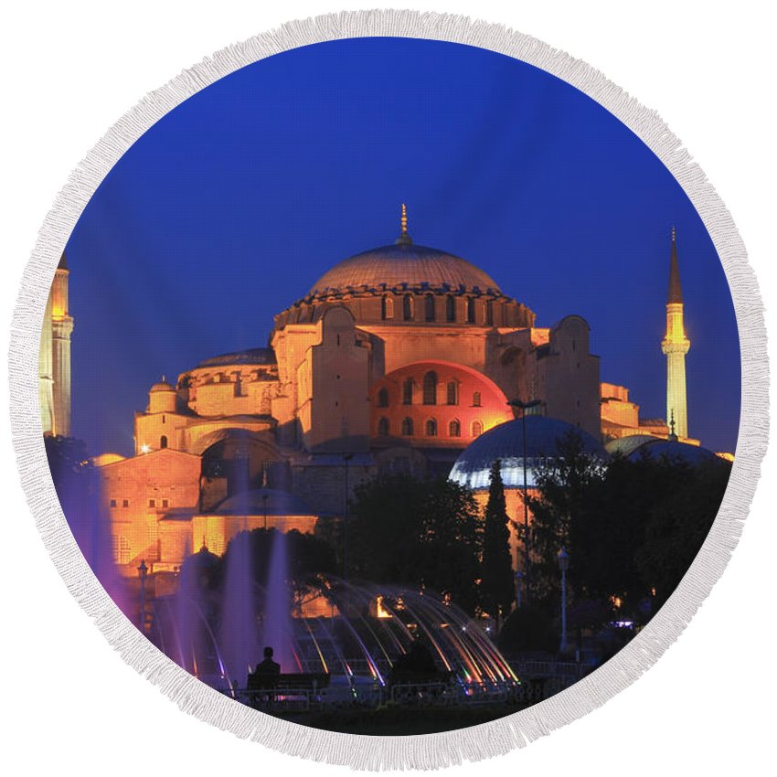 Architecture Round Beach Towel featuring the photograph Hagia Sophia At Night Istanbul Turkey by Ivan Pendjakov