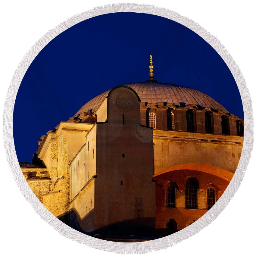 Istanbul Round Beach Towel featuring the photograph Hagia Sophia Evening by Rick Piper Photography