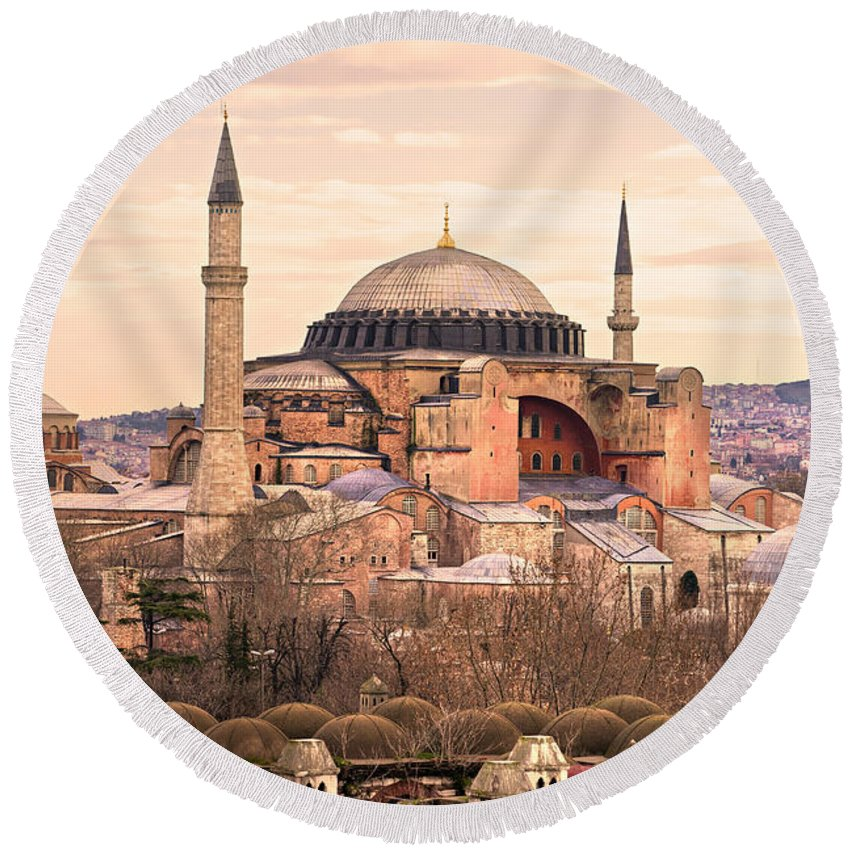 Architecture Round Beach Towel featuring the photograph Hagia Sophia Mosque - Istanbul by Luciano Mortula