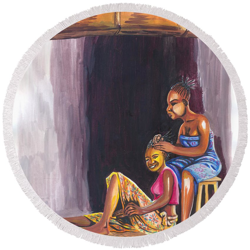 People Round Beach Towel featuring the painting Hair Dresser In Rwanda by Emmanuel Baliyanga