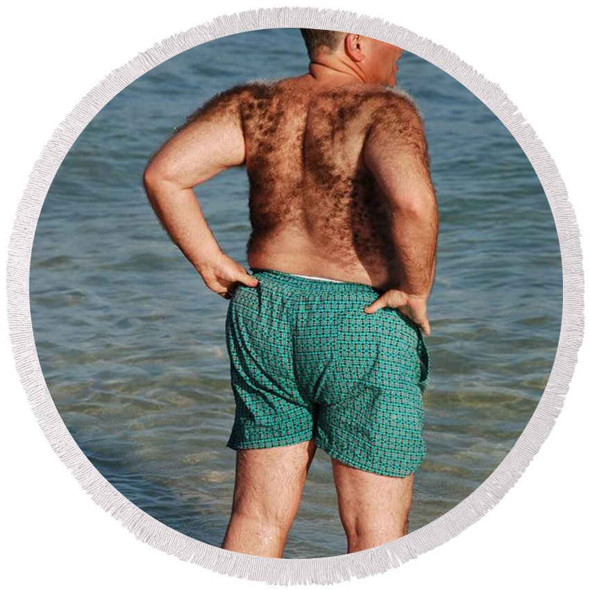 Man Round Beach Towel featuring the photograph Hairy Ocean by Rob Hans