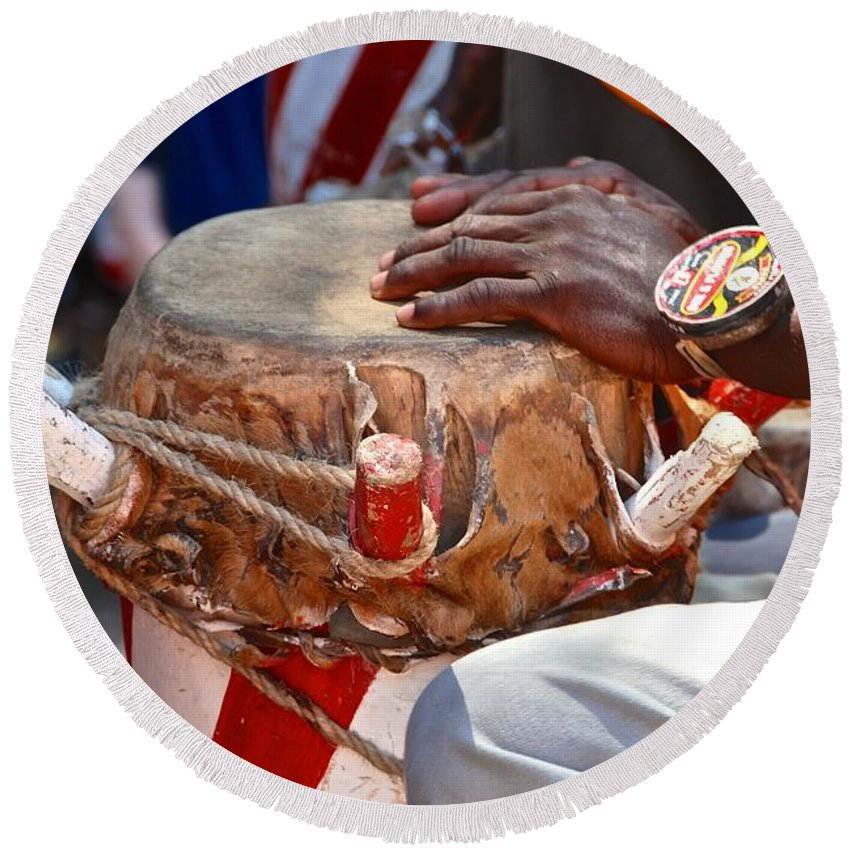 Drummer Round Beach Towel featuring the photograph Haitian Hands by David Coleman