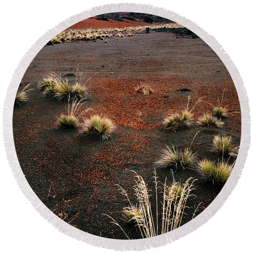 Maui Round Beach Towel featuring the photograph Haleakala - Red And Black by Nature Photographer