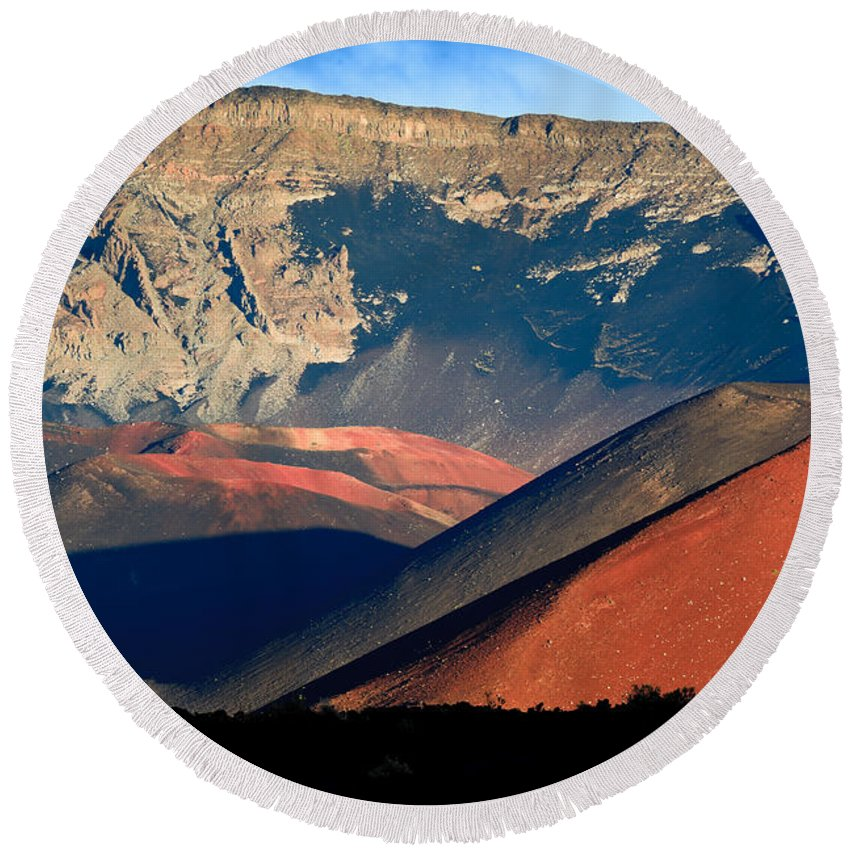 Hawaii Round Beach Towel featuring the photograph Haleakala Cinder Cones Lit From The Sunrise Within The Crater by Nature Photographer