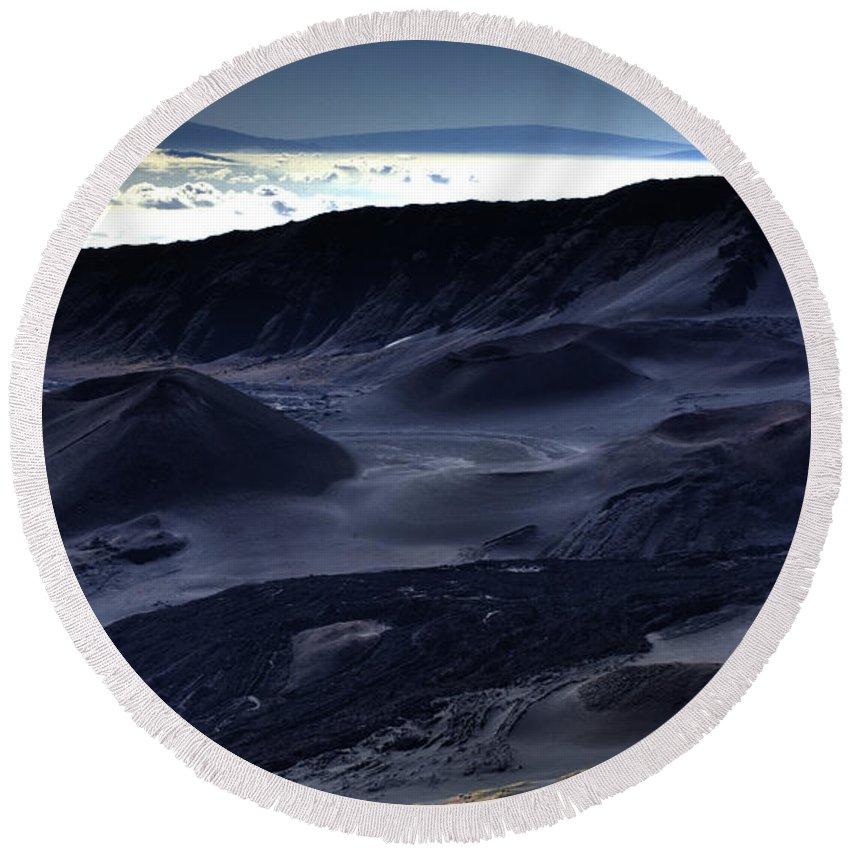 Haleakala Crater Round Beach Towel featuring the photograph Haleakala Crater Hawaii by Bob Christopher