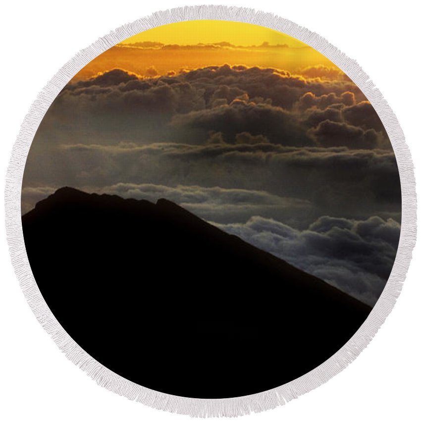 Haleakala Crater Round Beach Towel featuring the photograph Haleakala Hawaii Sunrise Cloudscape by Bob Christopher