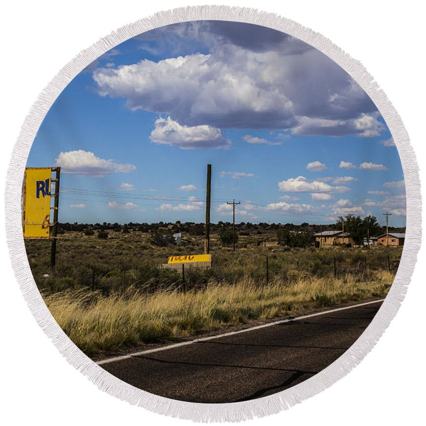 Route 66 Round Beach Towel featuring the photograph Half Billboard by Angus Hooper Iii