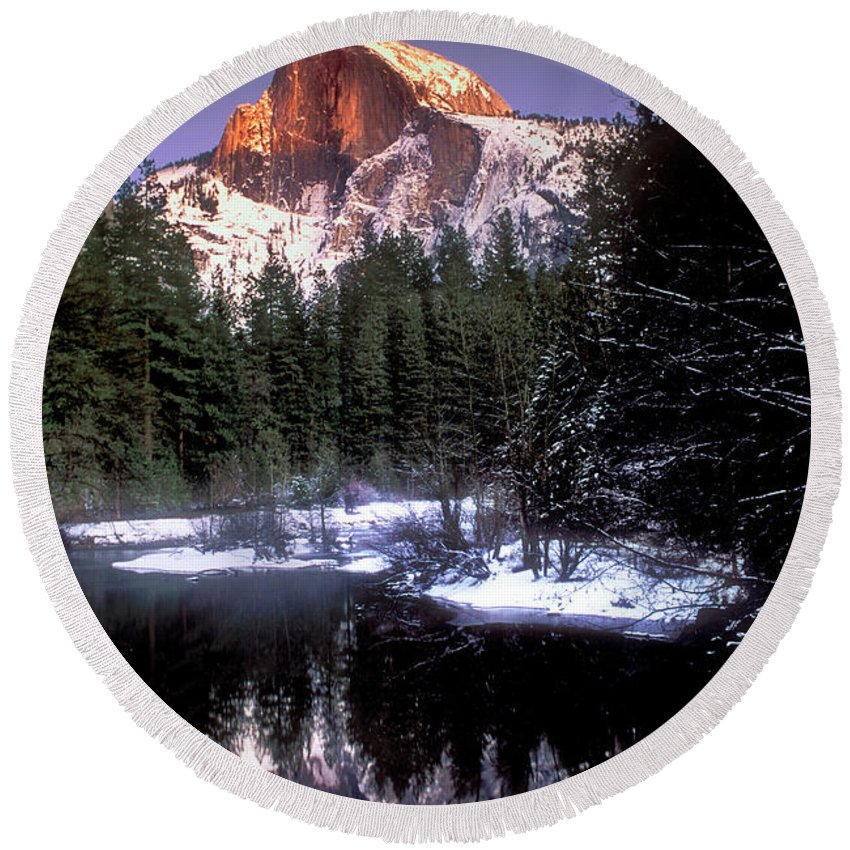 Yosemite National Park Round Beach Towel featuring the photograph Half Dome Reflection Yosemite National Park California by Dave Welling