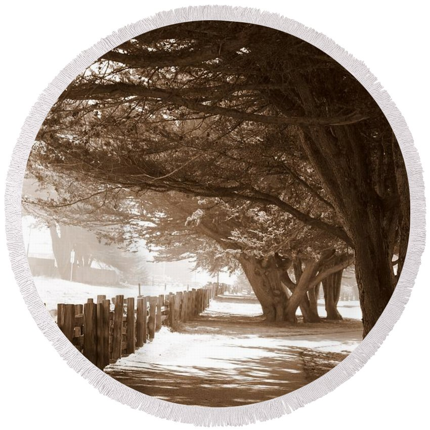 Sepia Round Beach Towel featuring the photograph Half Moon Bay Pathway by Carol Groenen