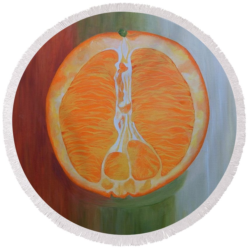 Fruit Round Beach Towel featuring the painting Half Orange by Graciela Castro