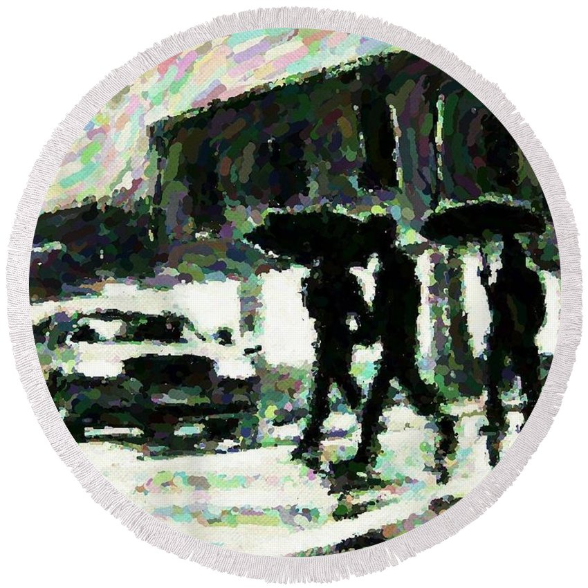 Landscape Paintings Round Beach Towel featuring the digital art Halifax In The Rain One by John Malone